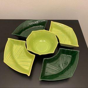 5 pc Green serving set